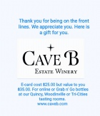 """Front Line """"Thank You"""" Gift Cards-Cost $25 Value $35 value"""